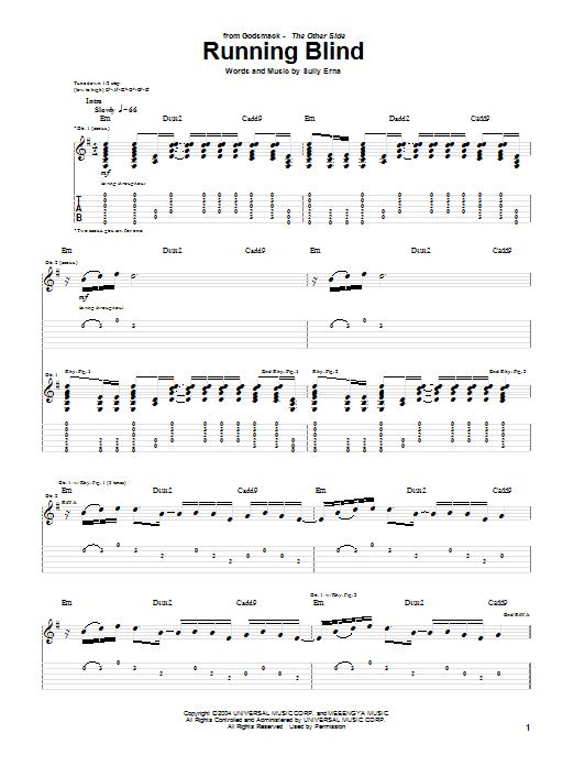Godsmack Running Blind sheet music notes and chords. Download Printable PDF.