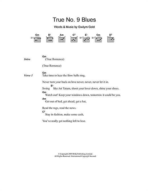 Golden Silvers True No. 9 Blues sheet music notes and chords. Download Printable PDF.
