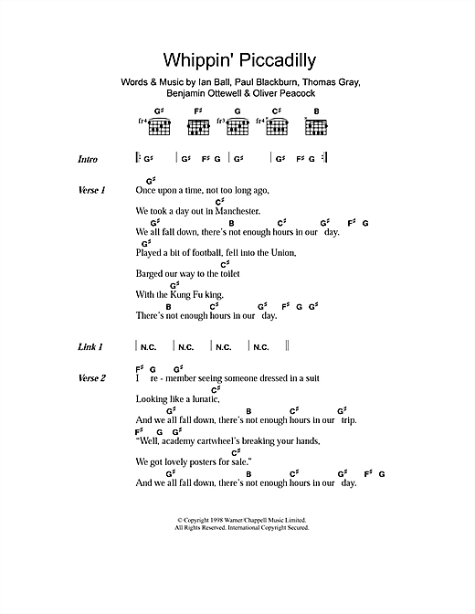 Gomez Whippin' Piccadilly sheet music notes and chords. Download Printable PDF.