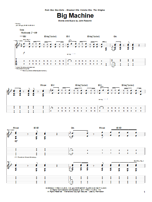 Goo Goo Dolls Big Machine sheet music notes and chords