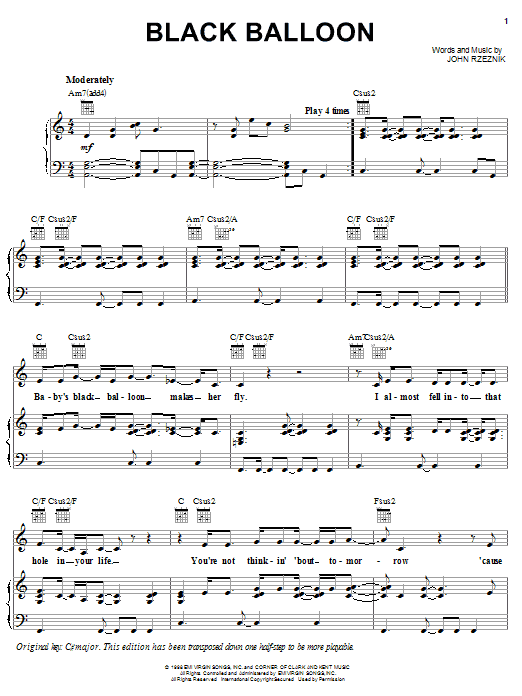 Goo Goo Dolls Black Balloon sheet music notes and chords