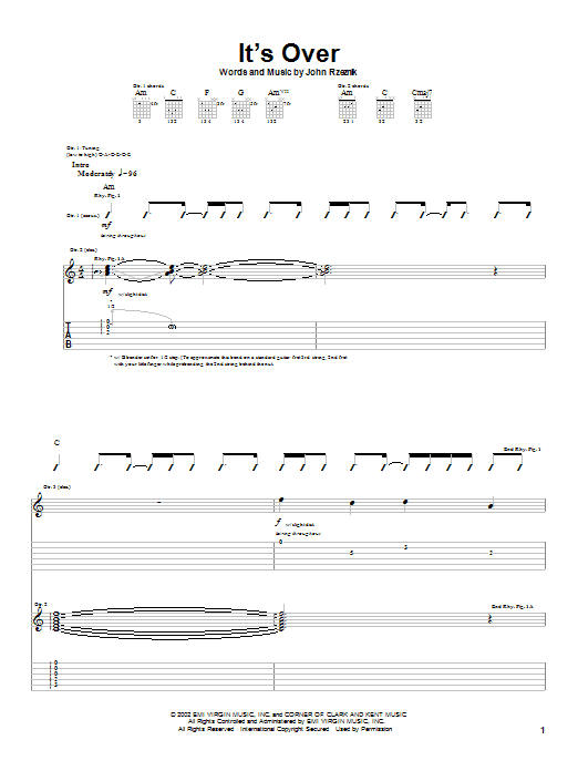 Goo Goo Dolls It's Over sheet music notes and chords. Download Printable PDF.