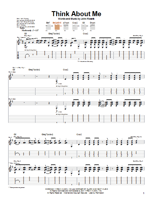 Goo Goo Dolls Think About Me sheet music notes and chords. Download Printable PDF.