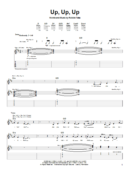 Goo Goo Dolls Up, Up, Up sheet music notes and chords. Download Printable PDF.