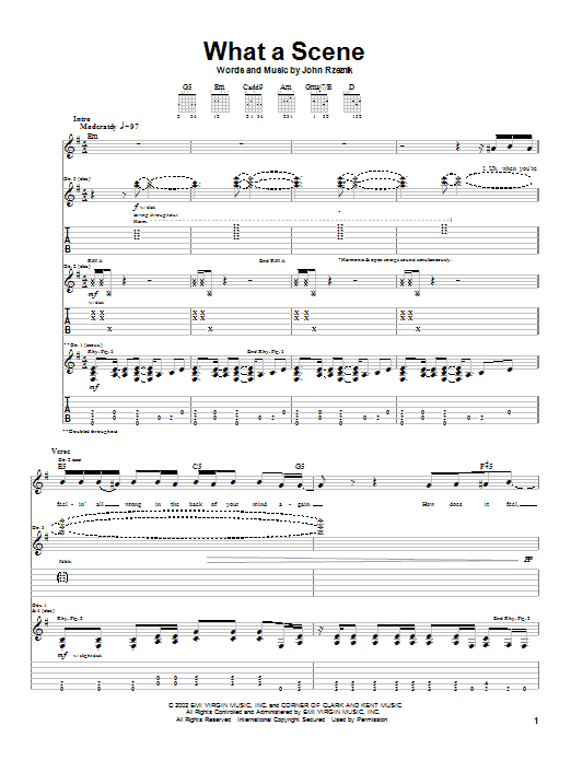 Goo Goo Dolls What A Scene sheet music notes and chords. Download Printable PDF.