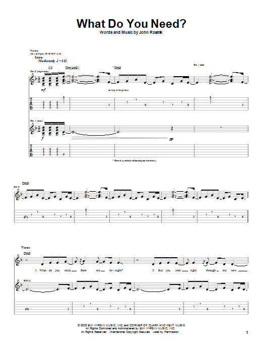 Goo Goo Dolls What Do You Need? sheet music notes and chords. Download Printable PDF.