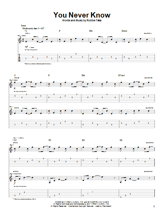 Goo Goo Dolls You Never Know sheet music notes and chords