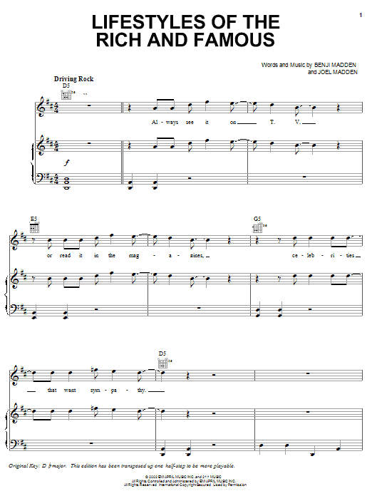 Good Charlotte Lifestyles Of The Rich And Famous sheet music notes and chords. Download Printable PDF.