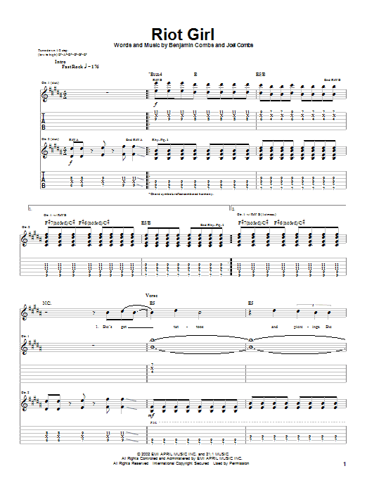 Good Charlotte Riot Girl sheet music notes and chords. Download Printable PDF.