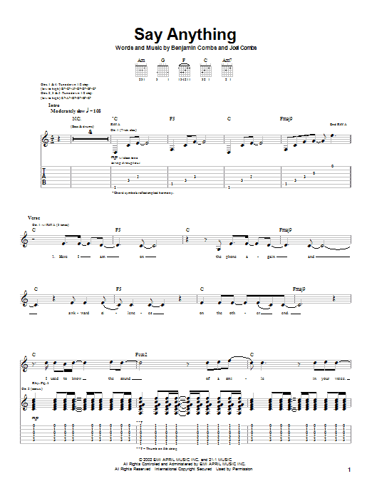 Good Charlotte Say Anything sheet music notes and chords