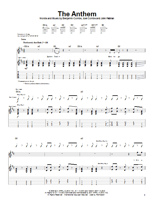 Good Charlotte The Anthem sheet music notes and chords