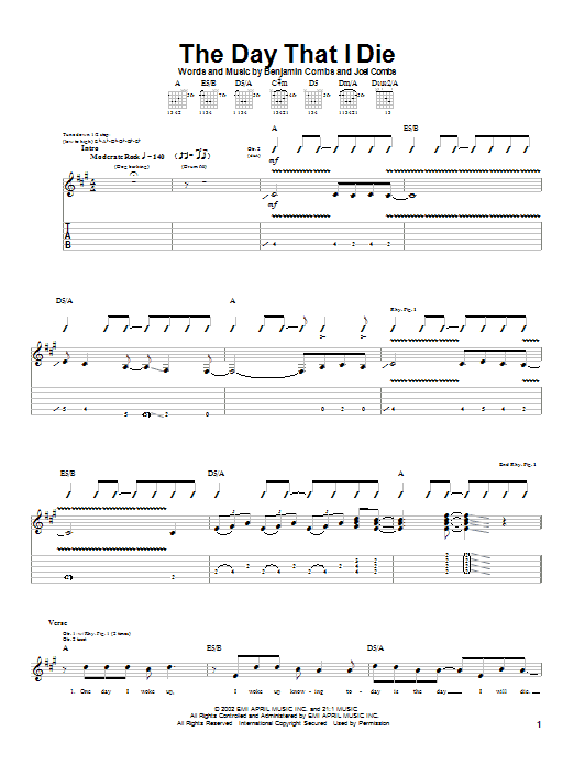 Good Charlotte The Day That I Die sheet music notes and chords