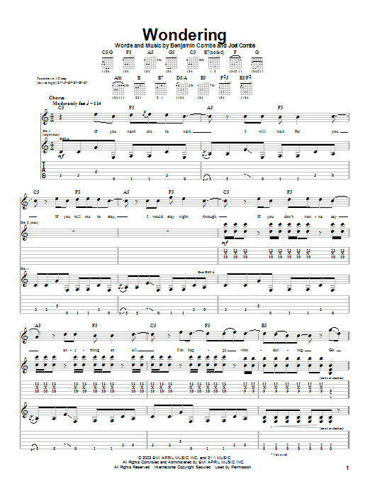 Good Charlotte Wondering sheet music notes and chords