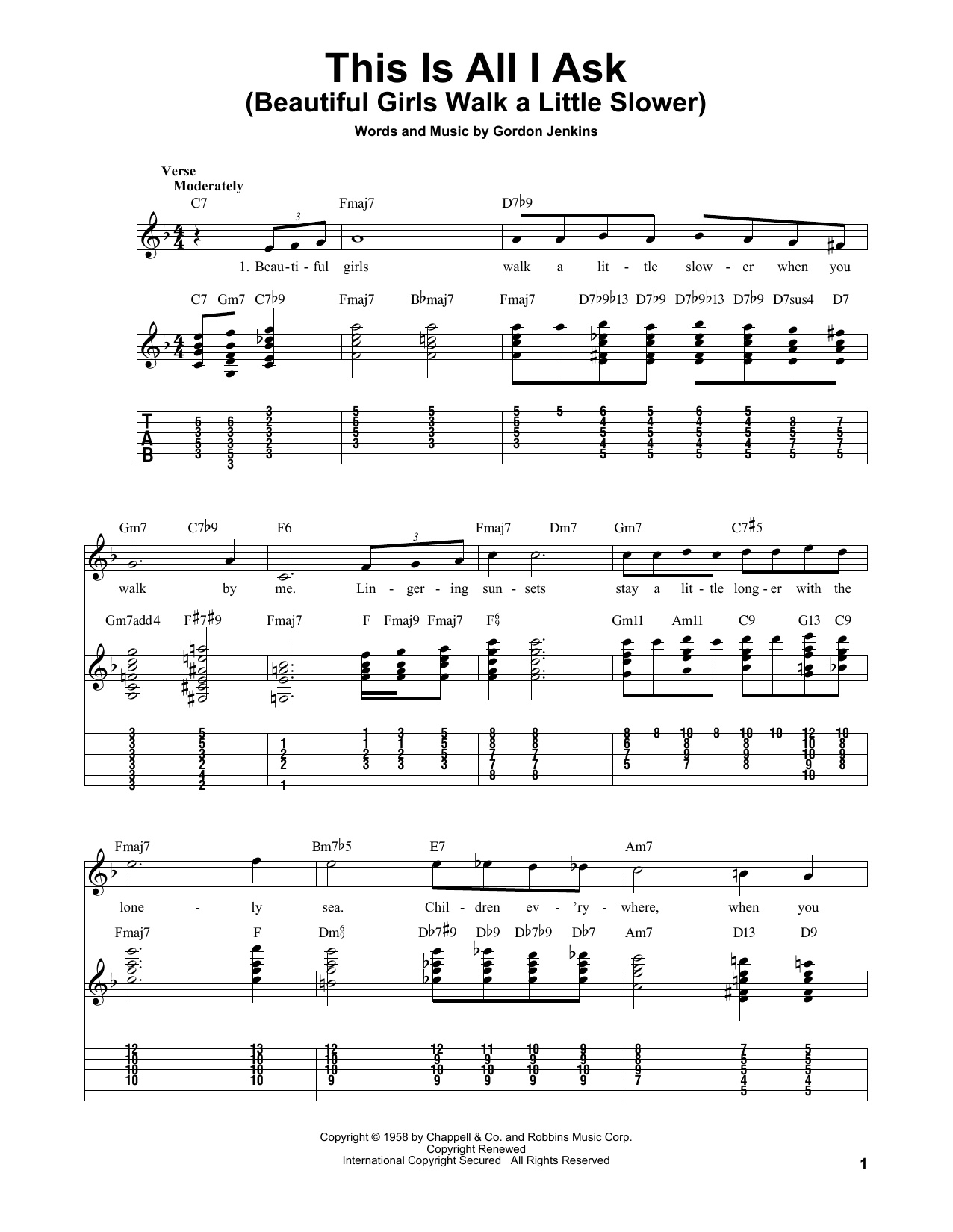 Gordon Jenkins This Is All I Ask (Beautiful Girls Walk A Little Slower) sheet music notes and chords. Download Printable PDF.