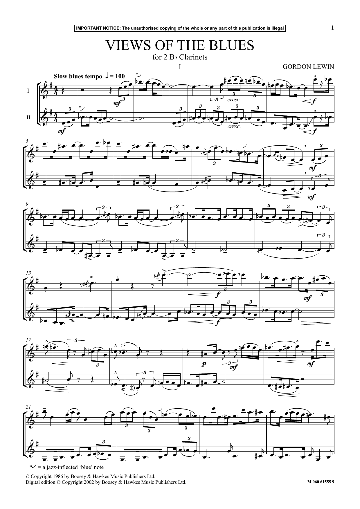 Gordon Lewin Views Of The Blues sheet music notes and chords. Download Printable PDF.