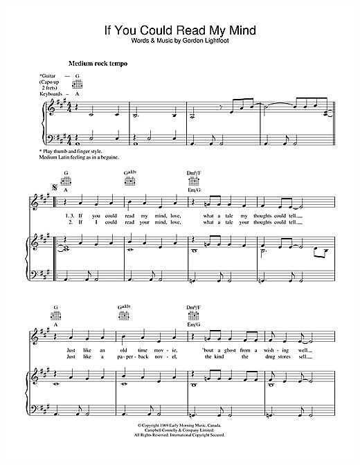 Gordon Lightfoot If You Could Read My Mind sheet music notes and chords. Download Printable PDF.