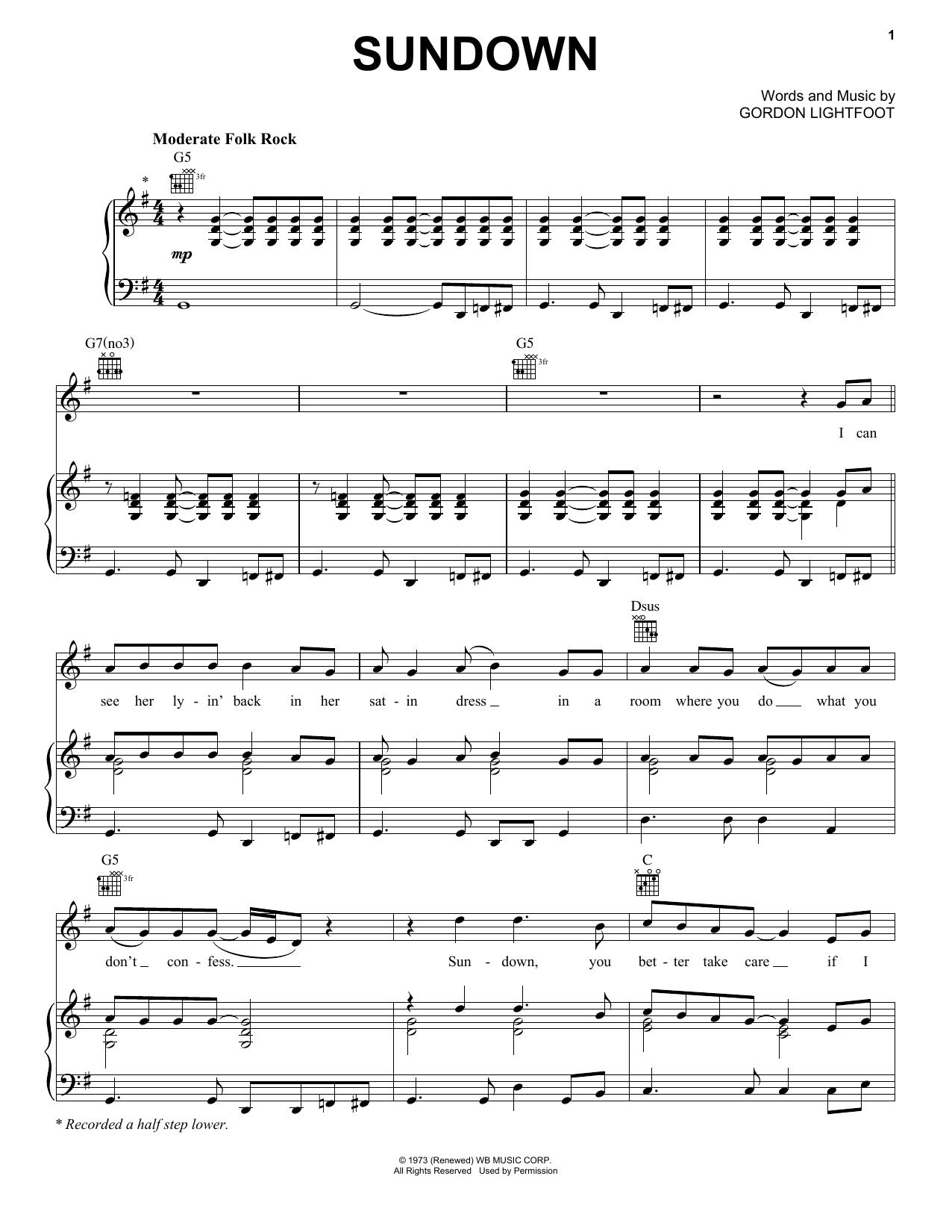 Gordon Lightfoot Sundown sheet music notes and chords. Download Printable PDF.