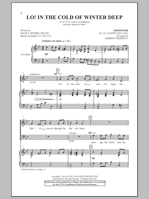 Gordon Thornett Lo! In The Cold Winter Deep sheet music notes and chords. Download Printable PDF.