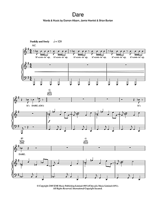 Gorillaz Dare sheet music notes and chords
