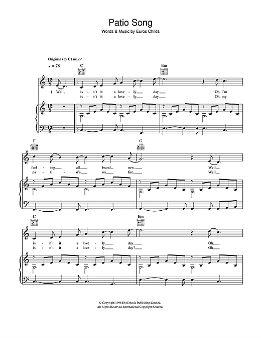 Gorky's Zygotic Mynci Patio Song sheet music notes and chords