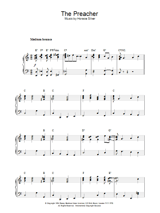 Horace Silver The Preacher sheet music notes and chords. Download Printable PDF.
