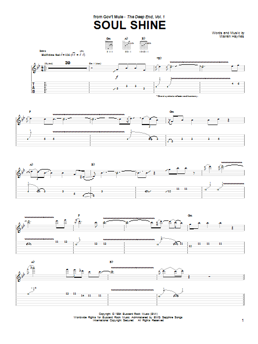 Gov't Mule Soul Shine sheet music notes and chords. Download Printable PDF.