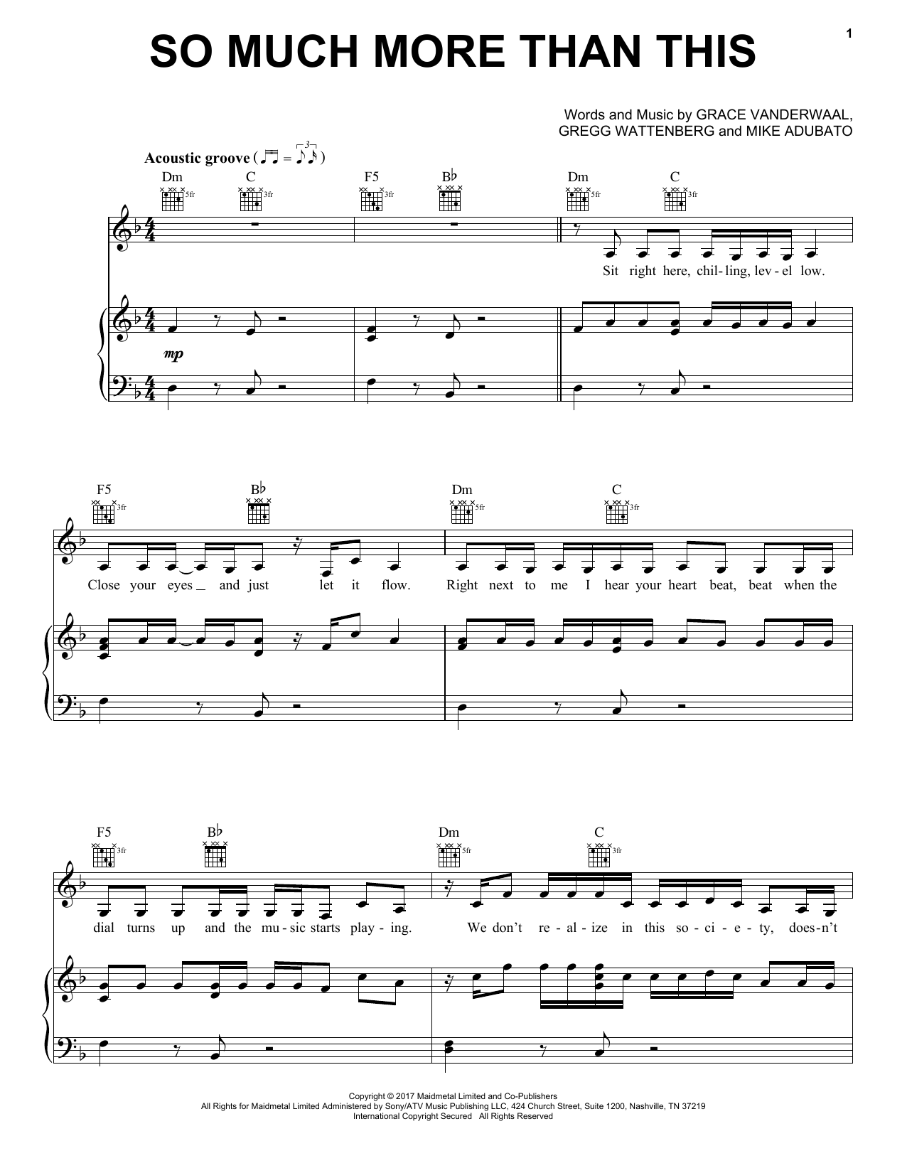 Grace VanderWaal So Much More Than This sheet music notes and chords. Download Printable PDF.