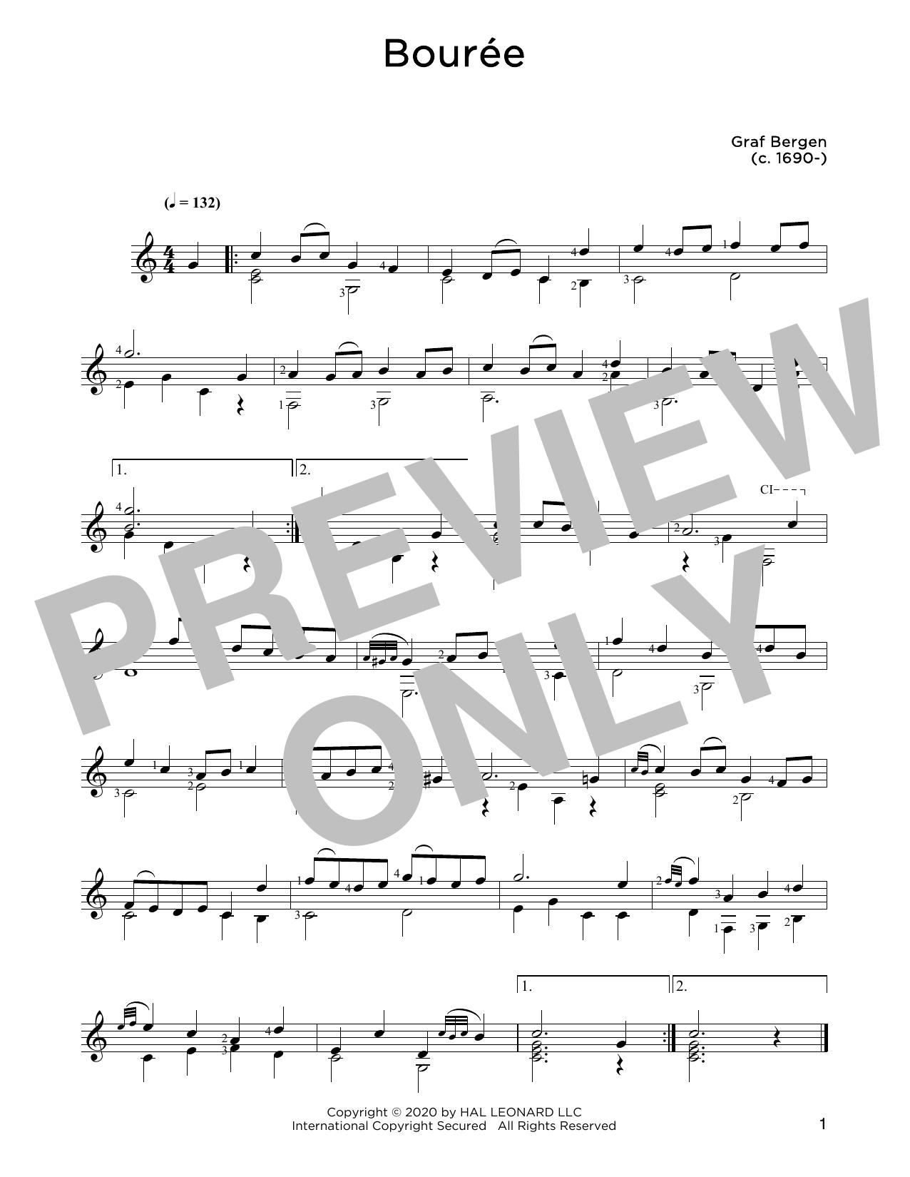 Graf Bergen Bouree sheet music notes and chords. Download Printable PDF.