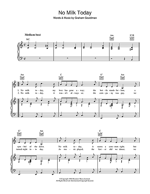 Graham Gouldman No Milk Today sheet music notes and chords. Download Printable PDF.