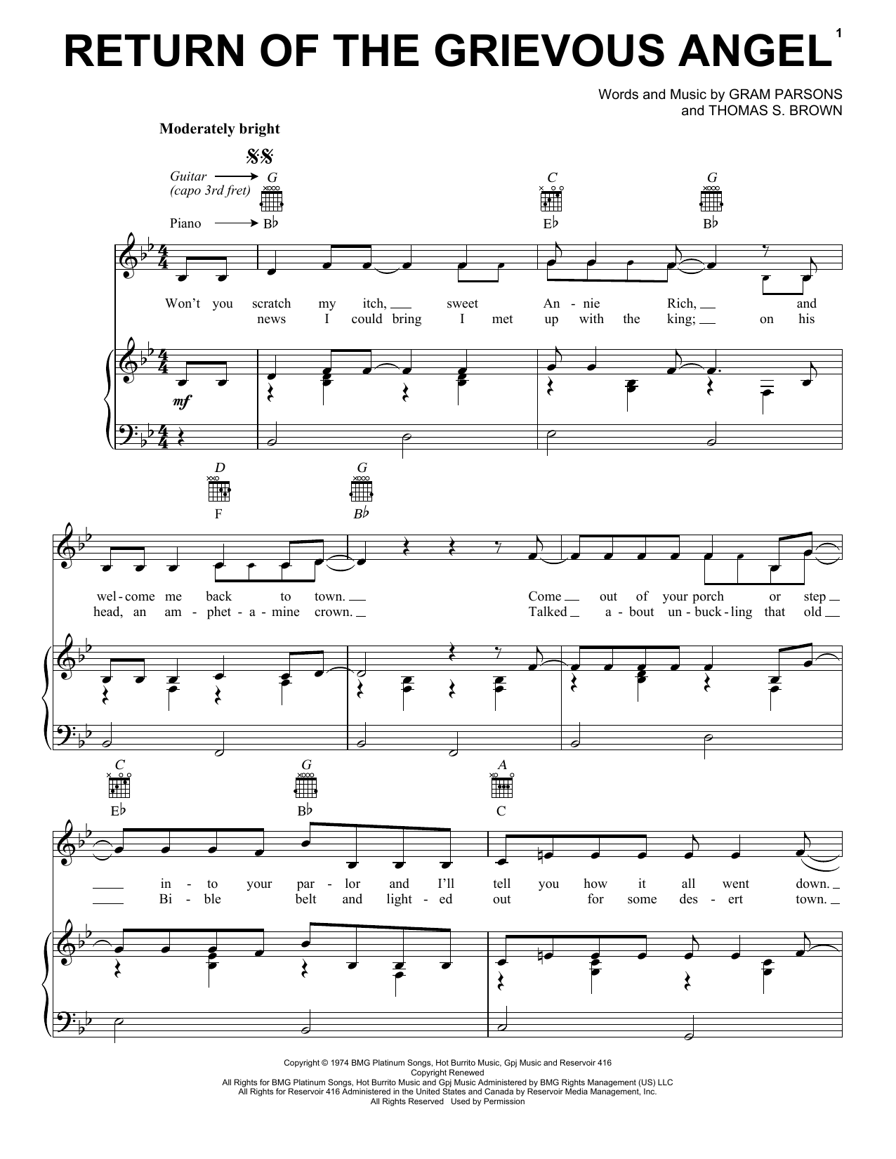 Gram Parsons Return Of The Grievous Angel sheet music notes and chords. Download Printable PDF.