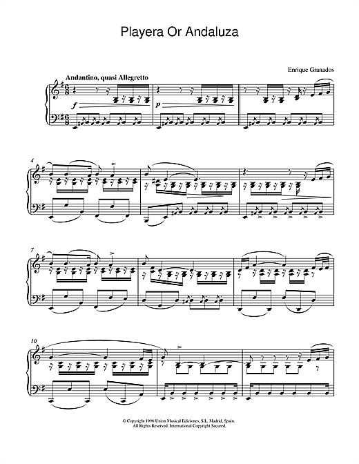 Granados Playera Or Andaluza sheet music notes and chords. Download Printable PDF.