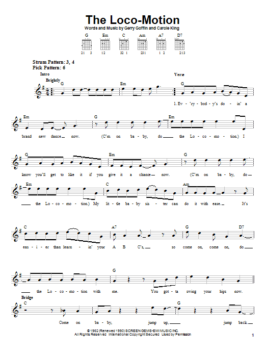 Grand Funk Railroad The Loco-Motion sheet music notes and chords. Download Printable PDF.