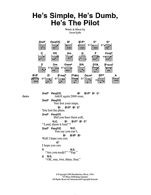 Grandaddy He's Simple, He's Dumb, He's The Pilot sheet music notes and chords. Download Printable PDF.