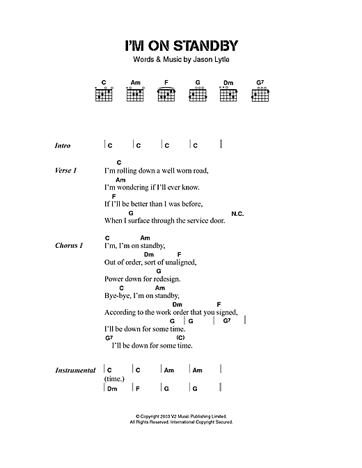Grandaddy I'm On Standby sheet music notes and chords. Download Printable PDF.