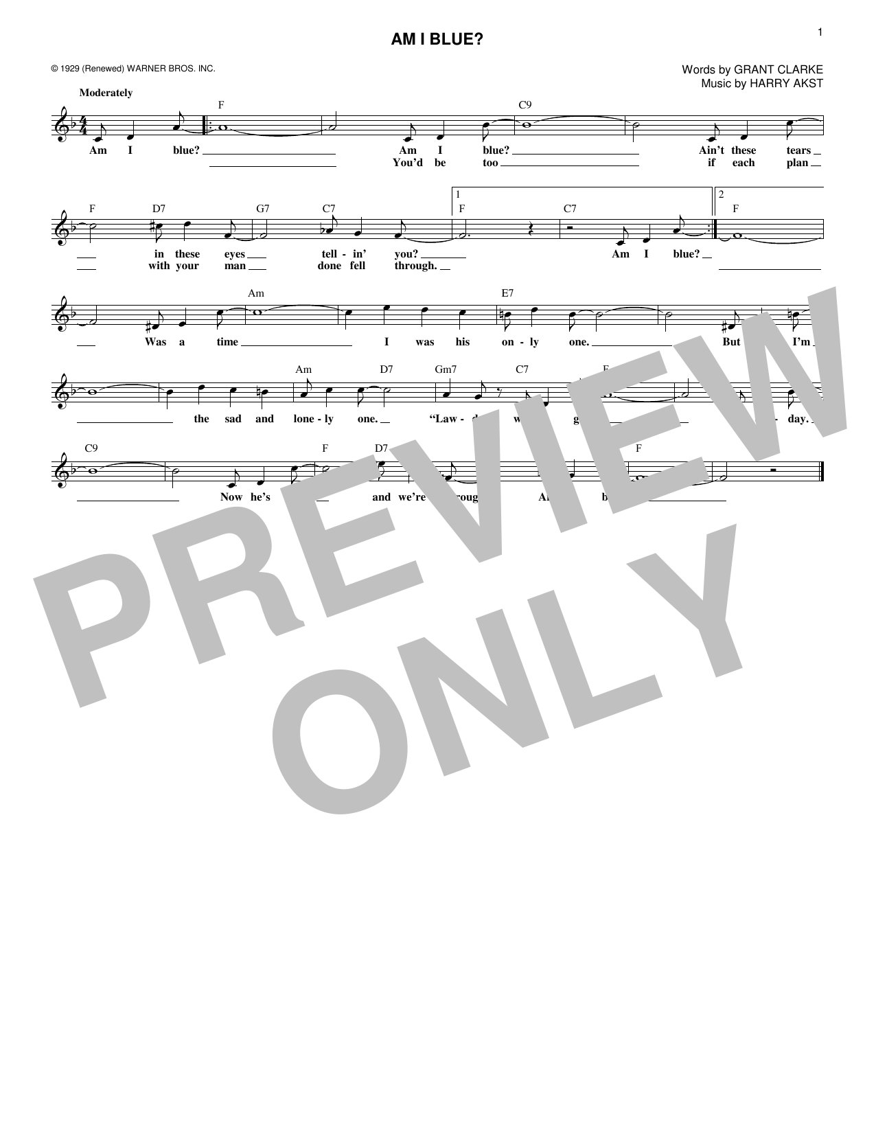 Grant Clarke Am I Blue? sheet music notes and chords. Download Printable PDF.