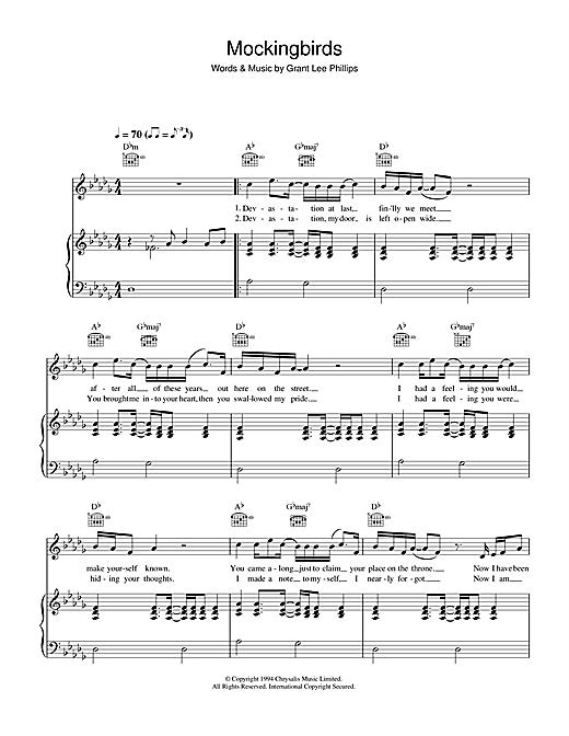 Grant Lee Buffalo Mockingbirds sheet music notes and chords. Download Printable PDF.