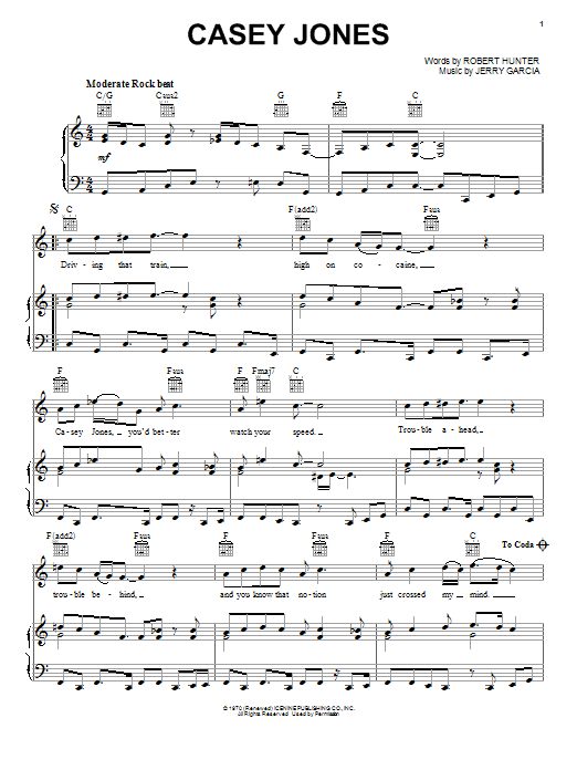 Grateful Dead Casey Jones sheet music notes and chords. Download Printable PDF.