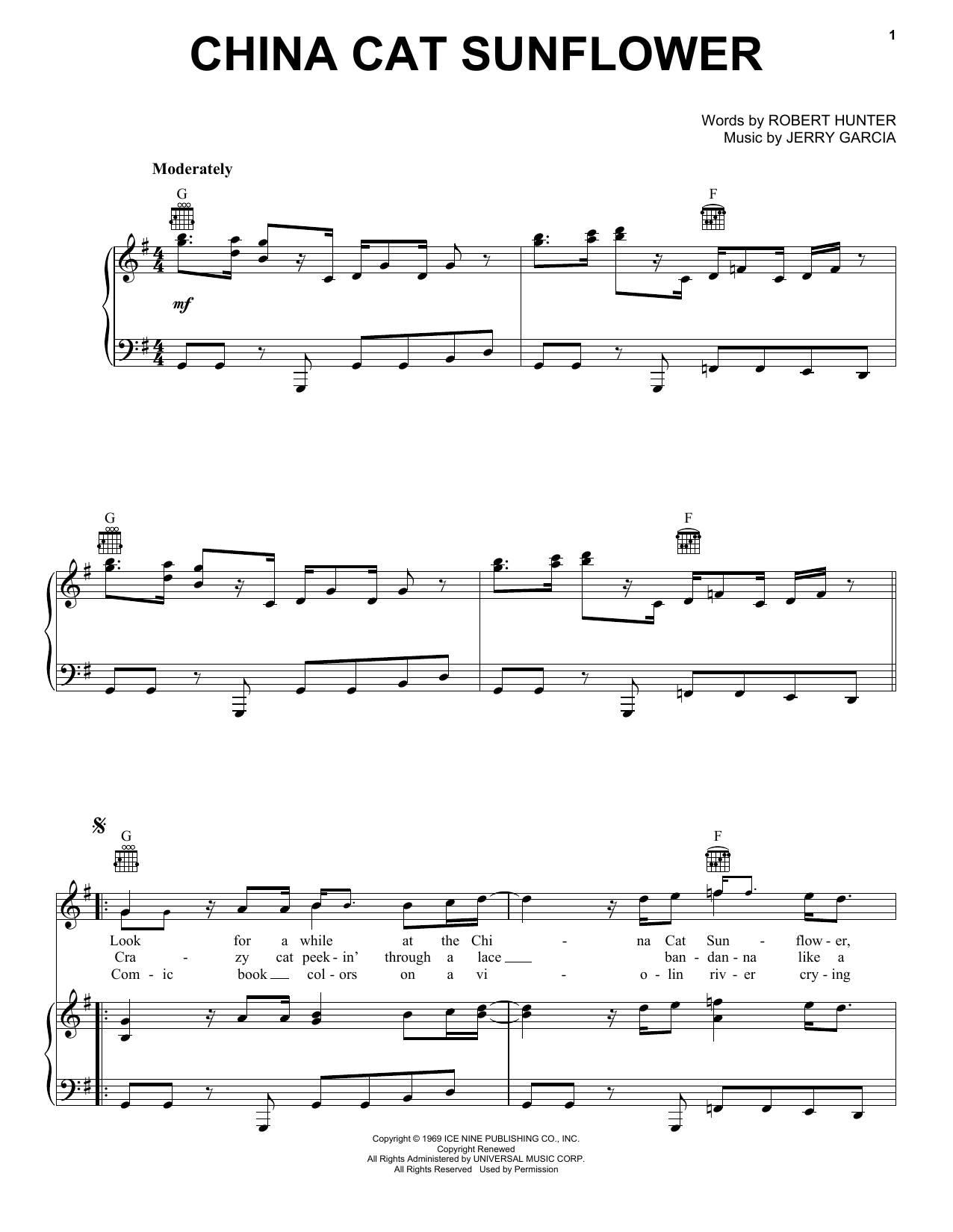 Grateful Dead China Cat Sunflower Sheet Music Notes, Chords   Download  Printable Guitar Tab PDF Score   SKU 15