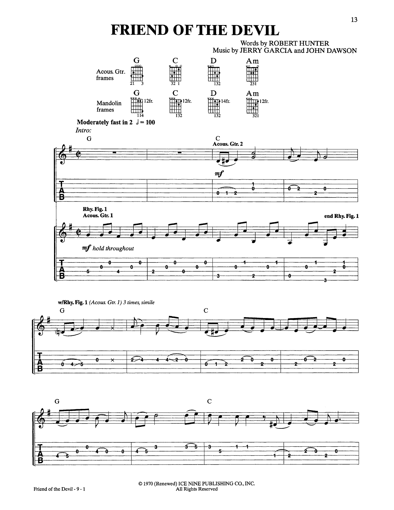 Grateful Dead Friend Of The Devil sheet music notes and chords