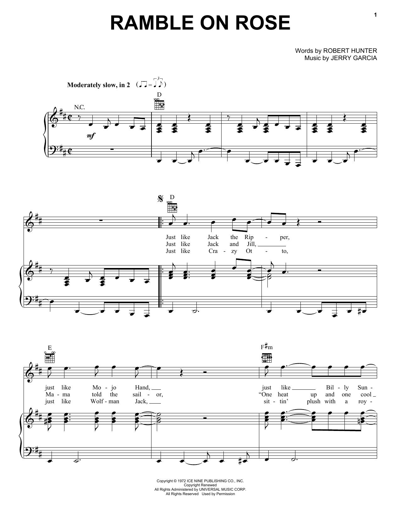 Grateful Dead Ramble On Rose Sheet Music Notes, Chords   Download Printable  Guitar Chords/Lyrics PDF Score   SKU 15