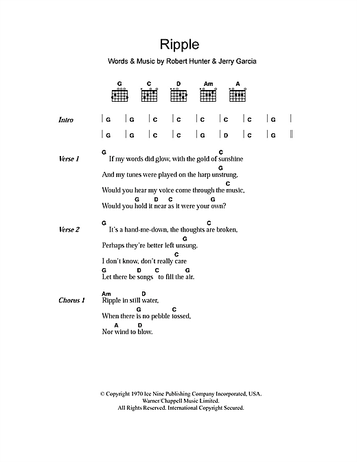 Grateful Dead Ripple sheet music notes and chords. Download Printable PDF.