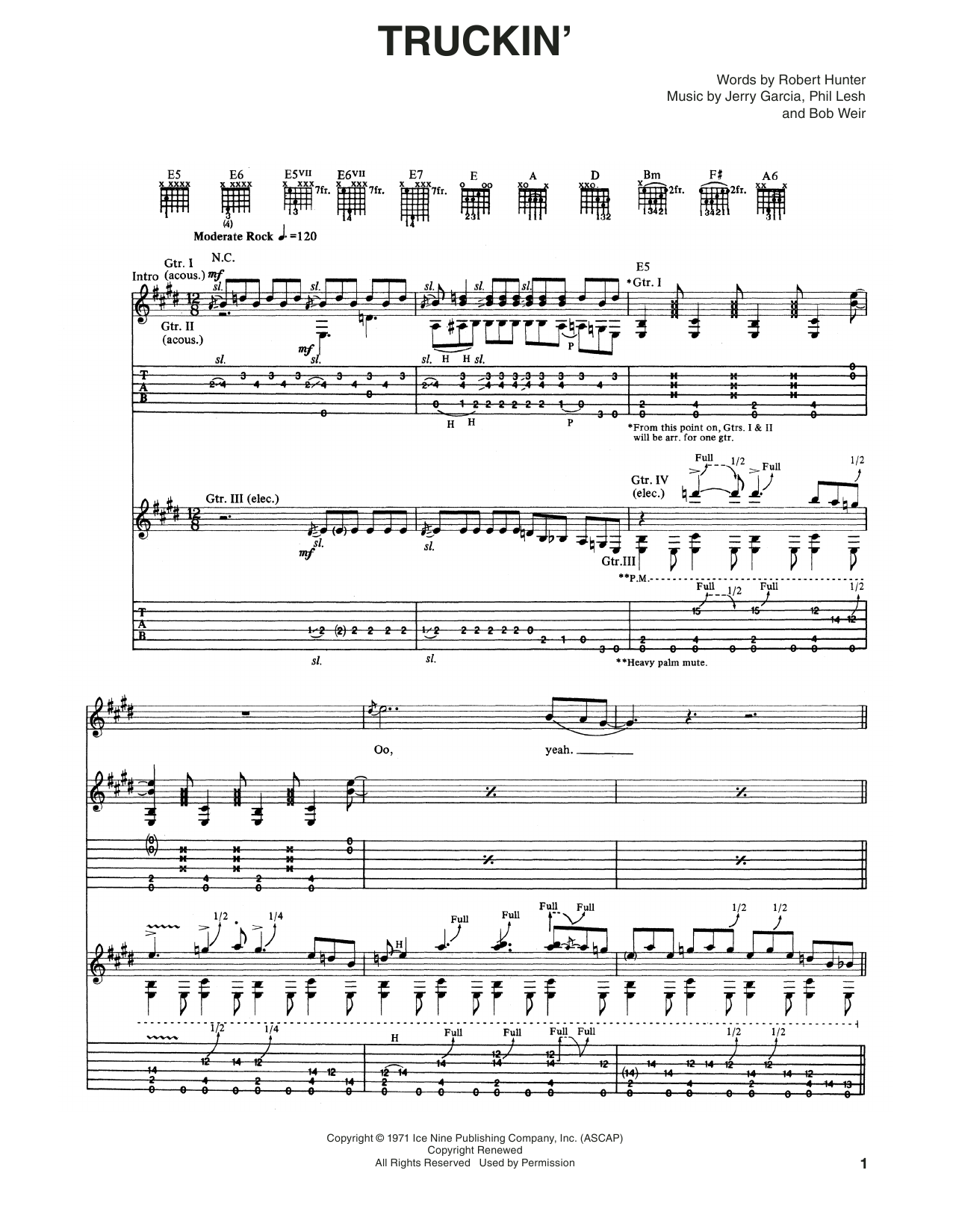 Grateful Dead Truckin' sheet music notes and chords. Download Printable PDF.
