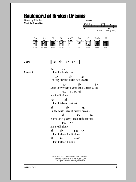 Green Day Boulevard Of Broken Dreams Sheet Music Pdf Notes Chords Rock Score Guitar Tab Single Guitar Download Printable Sku 177316