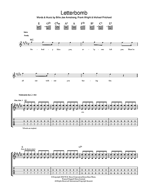 Green Day Letterbomb sheet music notes and chords. Download Printable PDF.