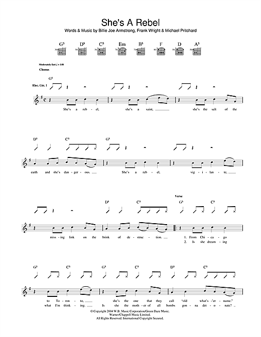 Green Day She's A Rebel sheet music notes and chords. Download Printable PDF.