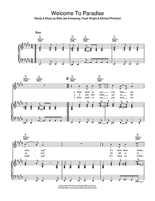 Green Day Welcome To Paradise sheet music notes and chords. Download Printable PDF.