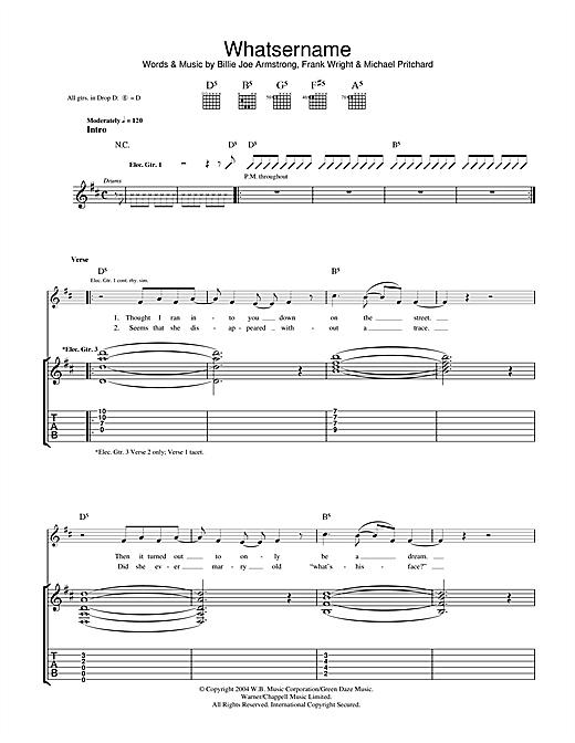 Green Day Whatsername sheet music notes and chords. Download Printable PDF.