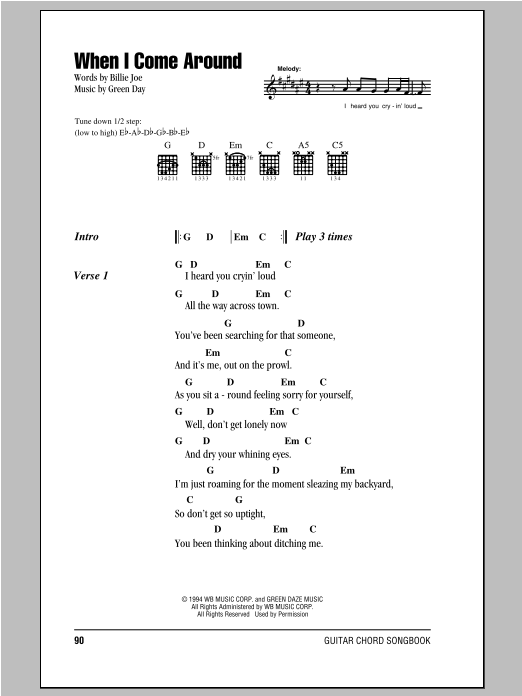 Green Day When I Come Around sheet music notes and chords. Download Printable PDF.
