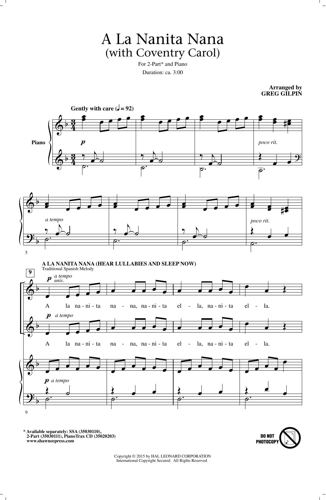 Greg Gilpin A La Nanita Nana (Hear Lullabies And Sleep Now) sheet music notes and chords