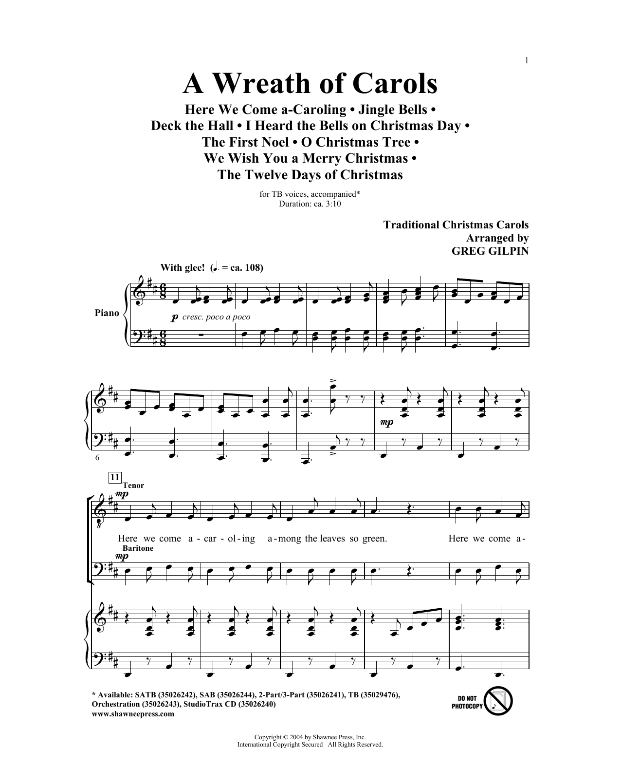 Greg Gilpin A Wreath Of Carols sheet music notes and chords. Download Printable PDF.